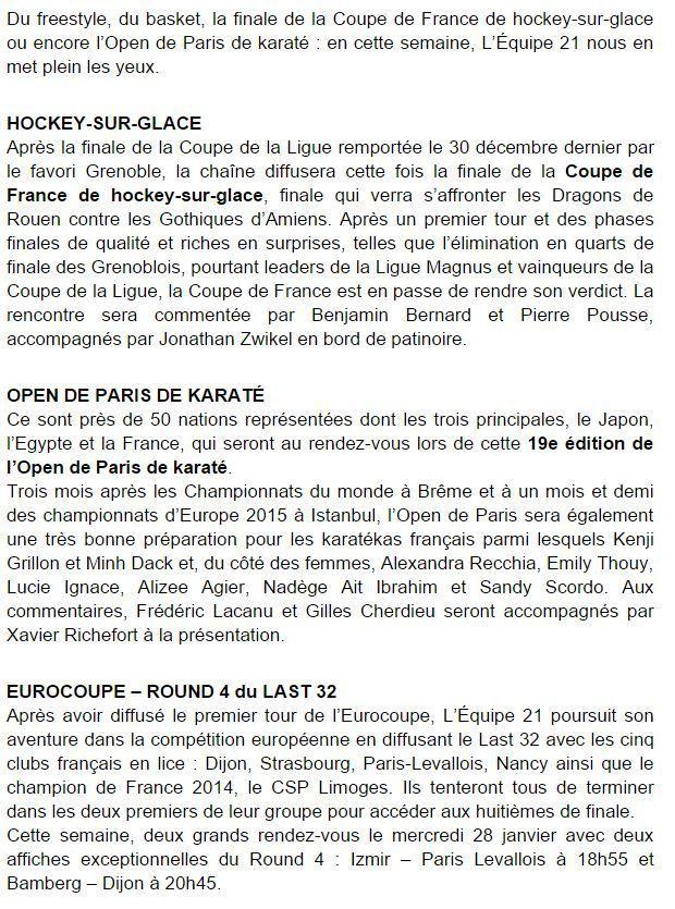 [Infos TV] Les Temps forts du 24 au 30 janvier 2015 à suivre sur l'Equipe 21 !