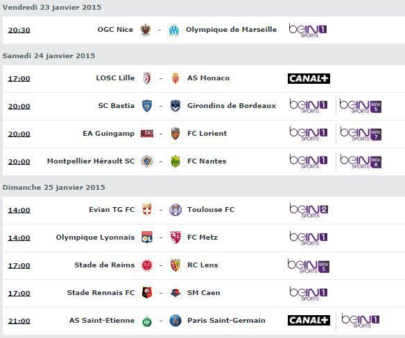 [Infos TV] Football - Attention modification concernant le Programme TV de la 22ème Journée de Ligue 1 !