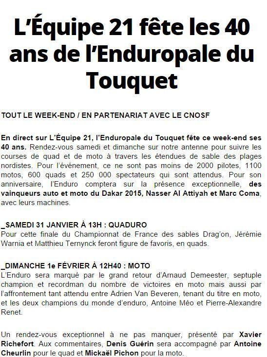 [Infos TV] Ce week-end l'Equipe 21 fête les 40 ans de l'Enduropale du Touquet