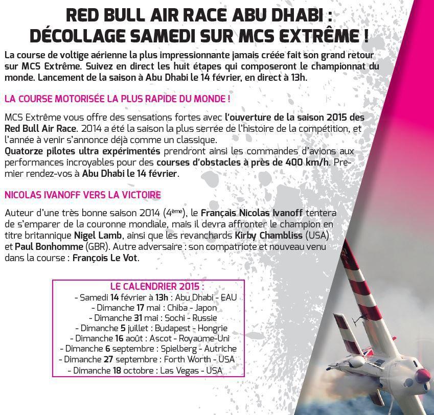 [Infos TV] La saison de Red Bull Air Race reprend ce samedi en direct sur Ma Chaîne Sport Extrême !