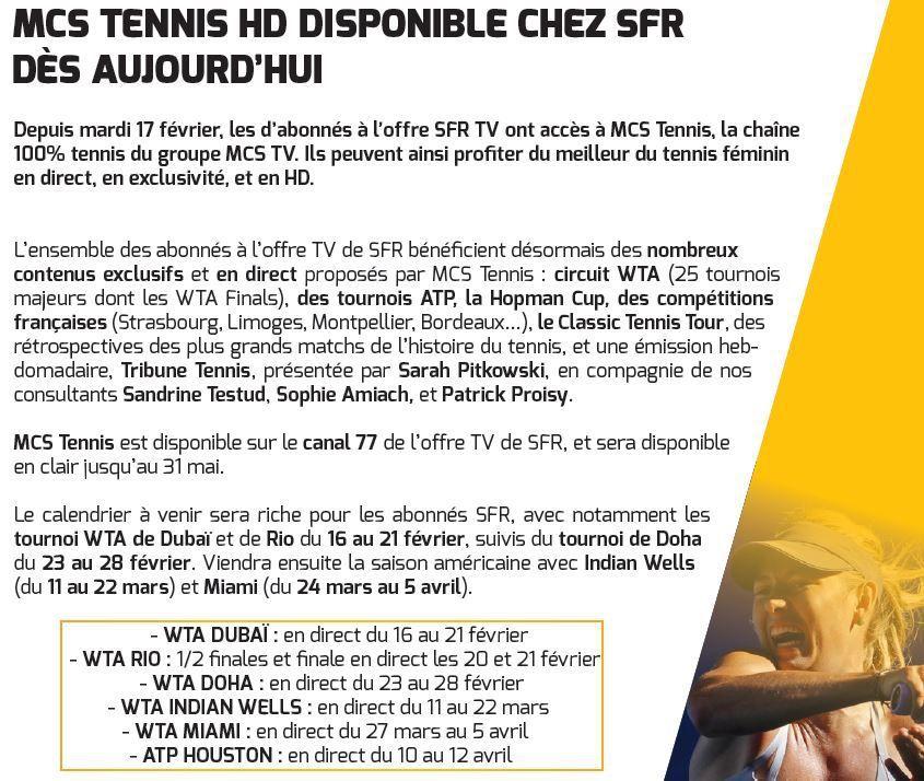 [Infos TV] Ma Chaîne Sport Tennis est disponible sur l'offre TV de SFR !