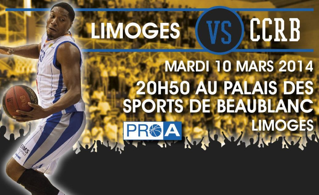 mar 10 mar basket 23 me journ e de pro a limoges ch lon reims suivre en direct 20h50. Black Bedroom Furniture Sets. Home Design Ideas
