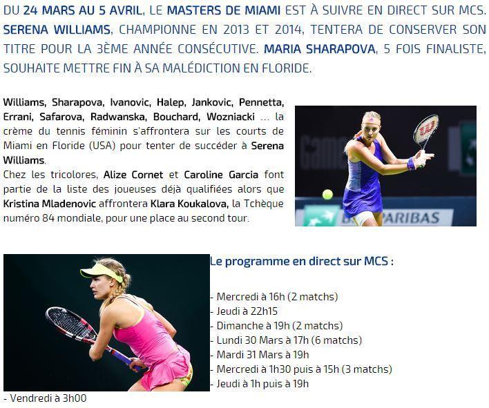 [Info TV] Tennis - Le WTA Masters 1000 de Miami sera à suivre en direct sur Ma Chaîne Sport du 25 mars au 05 avril 2015 !