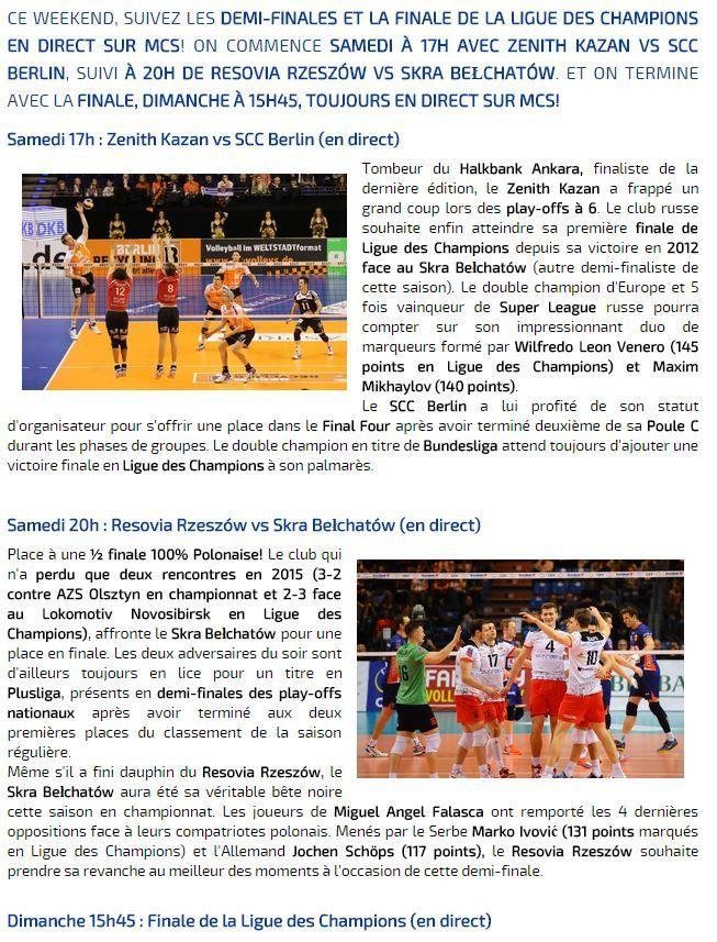 [Infos TV] Les 1/2 finales du Final Four de Volley Masculin seront à suivre ce samedi en direct dès 17h00 sur Ma Chaîne Sport !