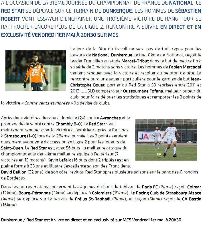 [Ven 1er Mai] Foot (National, 31ème Journée) Dunkerque / Red Star, à suivre en direct à 20h30 sur Ma Chaine Sport !