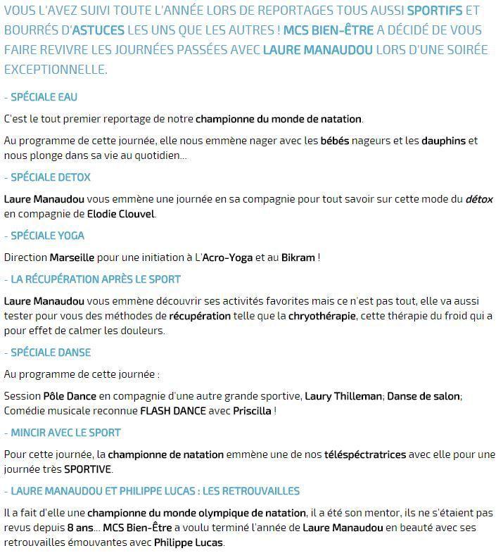 """[Jeu 02 Juil] Soirée Exceptionnelle """"Mes journées passées avec Laure Manaudou"""" à suivre à 20h45 sur Ma Chaîne Sport Bien-Être !"""