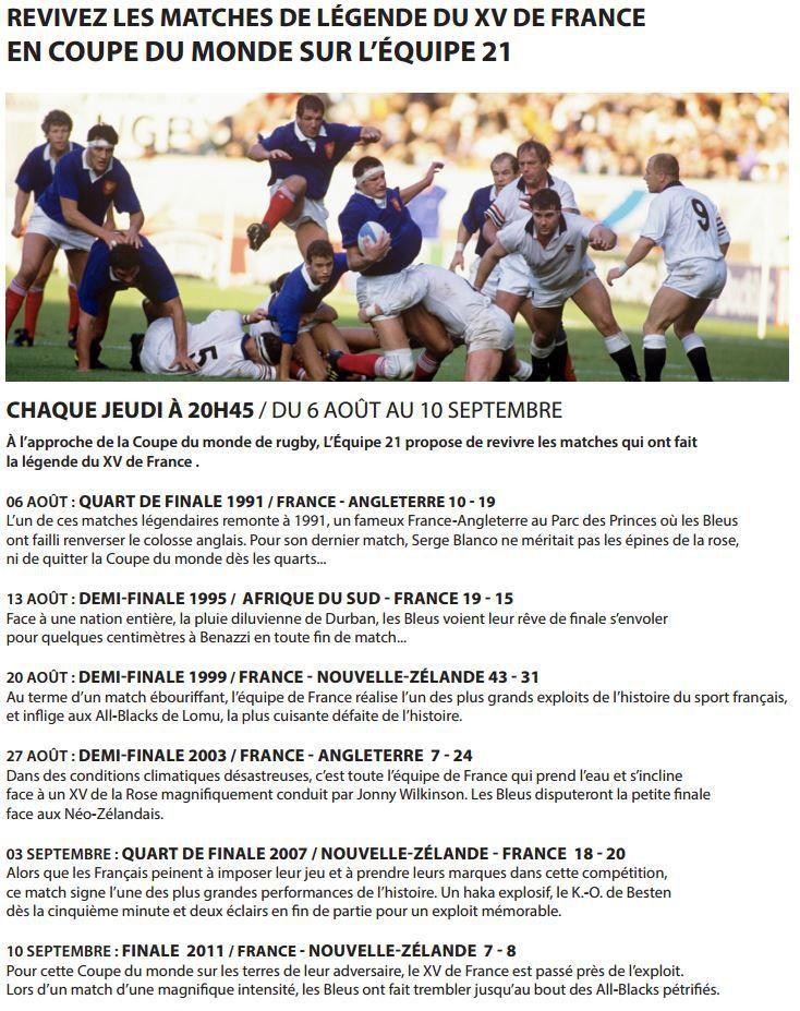 [Infos TV] Revivez les matches de légende du XV de France en coupe du monde rugby sur L'Équipe 21 !