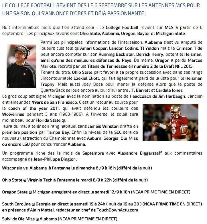 [Infos TV]  Foot US NCAA - Le Collège Football est de retour sur Ma Chaîne Sport dès le 06 septembre 2015 !