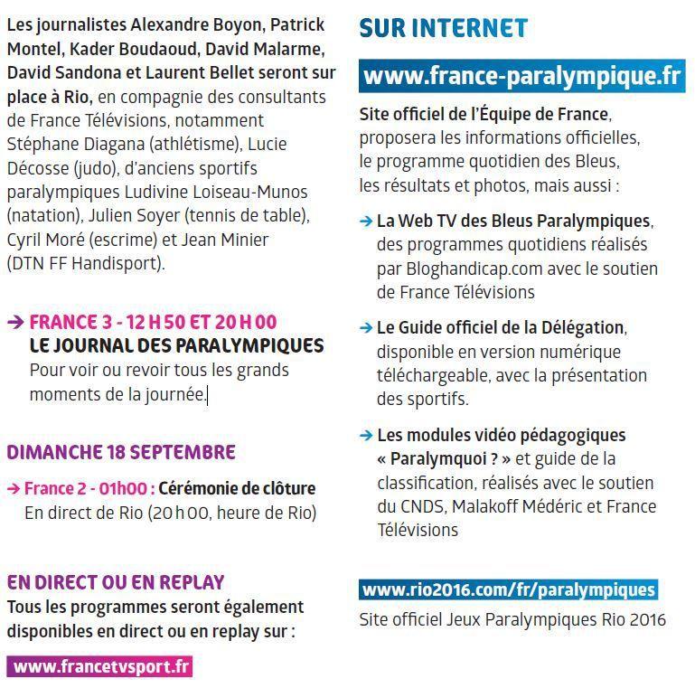 [Infos TV] Rio 2016 Paralympique ! Découvrez comment suivre les Jeux Paralympiques sur France Télévisions et Internet !