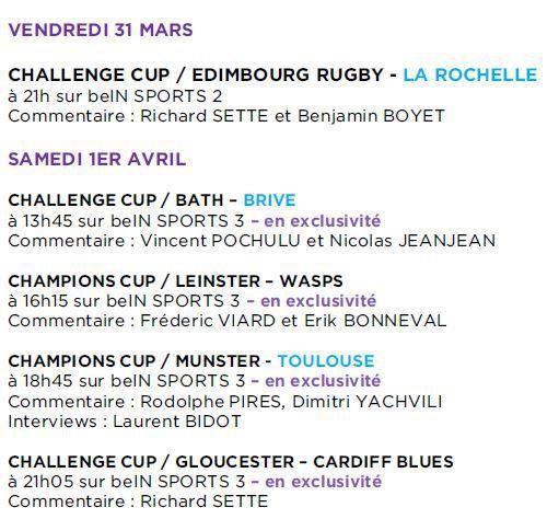 [Infos TV] Rugby - Tous les 1/4 de Finale des Coupes d'Europe sur beIN SPORTS ce week-end !