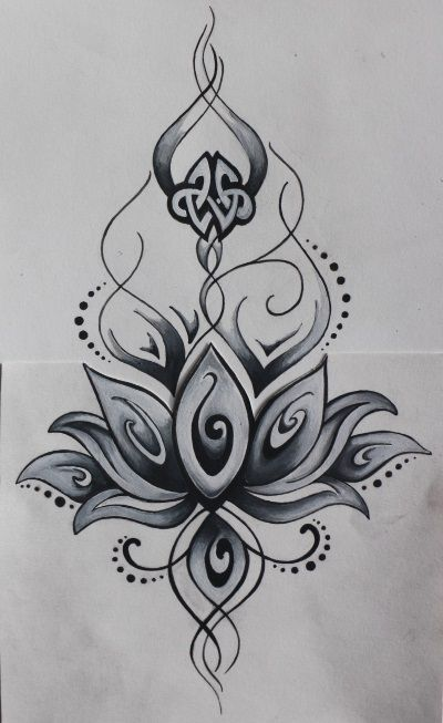 dessin de fleur de lotus tatouage tatouage. Black Bedroom Furniture Sets. Home Design Ideas