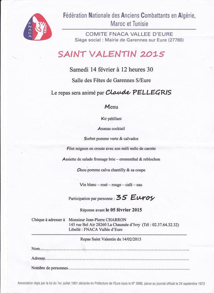 Repas de la Saint Valentin proposé par la FNACA Vallée d'Eure