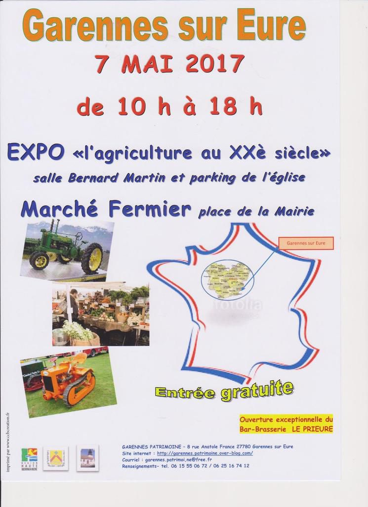 Dimanche 7 mai 2017 : Exposition &quot&#x3B;l'agriculture au XXè siècle&quot&#x3B; et Marché Fermier