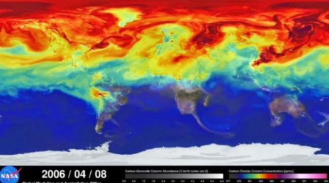 Une vidéo de la nasa nous plonge le nez dans nos émissions mondiales de CO2, édifiant, les panaches du polluant s'etendent sur tout le globe