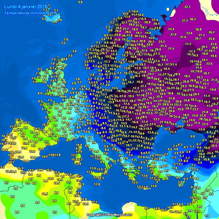 1ère vague de froid: 40° d'écart entre l'Espagne et la Russie