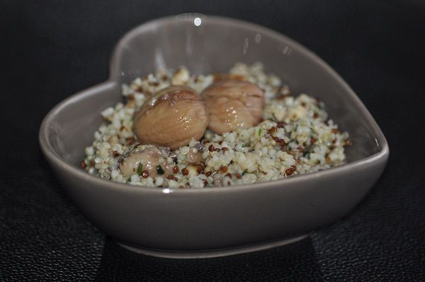 Salade de quinoa et boulgour aux chataignes et noisettes