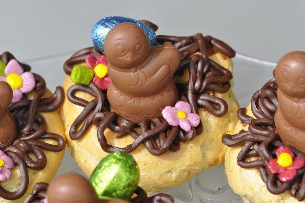 Petits nids de Pâques en pâte à choux