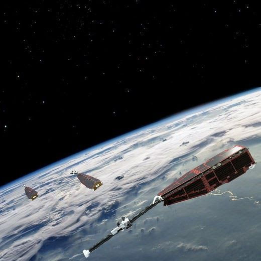 Swarm is ESA's first Earth observation constellation of satellites. The three identical satellites are launched together on one rocket. Two satellites orbit almost side-by-side at the same altitude – initially at about 460 km, descending to around 300 km over the lifetime of the mission. The third satellite is in a higher orbit of 530 km and at a slightly different inclination. The satellites' orbits drift, resulting in the upper satellite crossing the path of the lower two at an angle of 90° in the third year of operations.  The different orbits along with satellites' various instruments optimise the sampling in space and time, distinguishing between the effects of different sources and strengths of magnetism.
