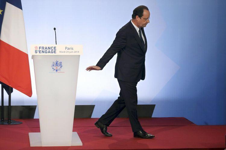 Le président de la République François Hollande, le 24 juin 2014 à l'Elysée, à Paris.