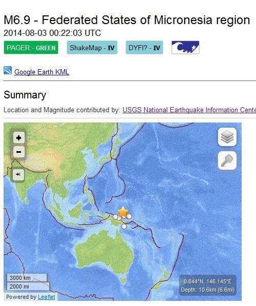 TREMBLEMENT DE TERRE Micronesia 6.9