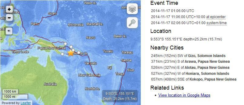 tremblement de terre M6.1 Solomon Islands 2014-11-17 01:06:00 UTC