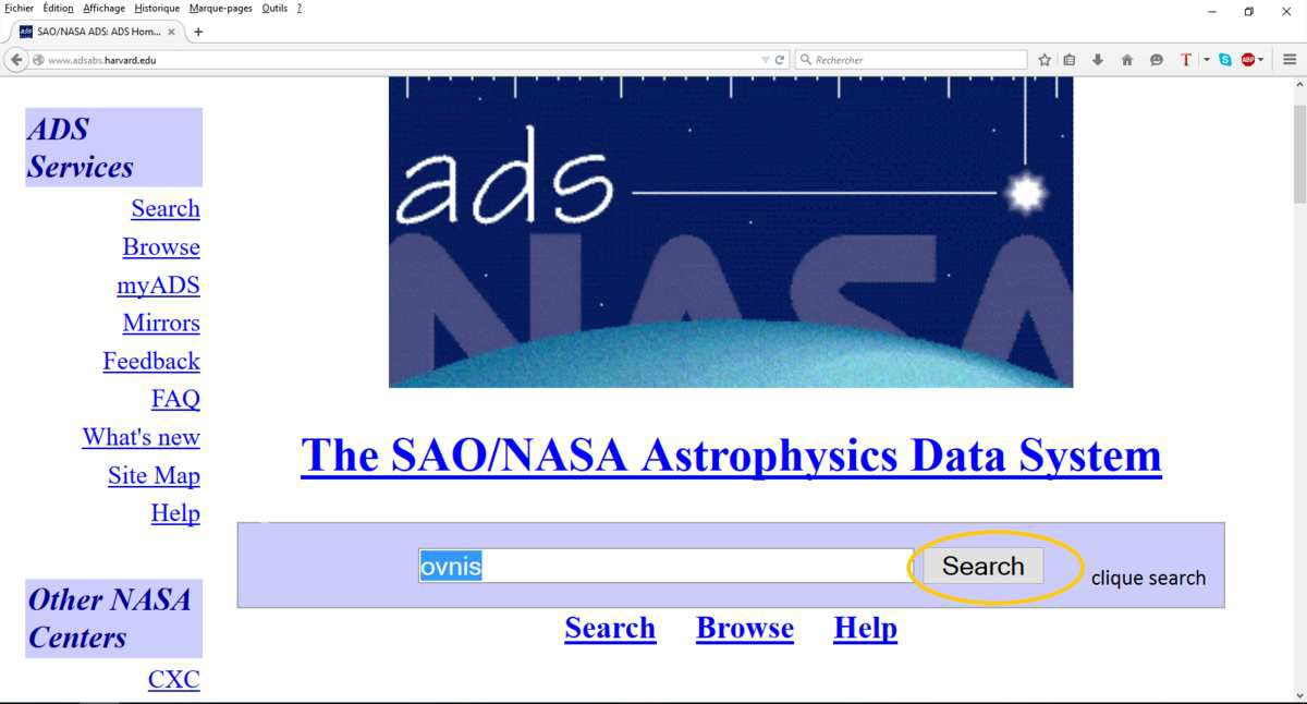 les OVNIS dans la base &quot&#x3B;The SAO/NASA Astrophysics Data System&quot&#x3B;