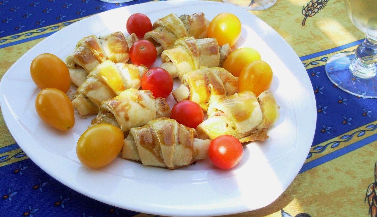 Mini-croissants au jambon et moutarde à l'estragon