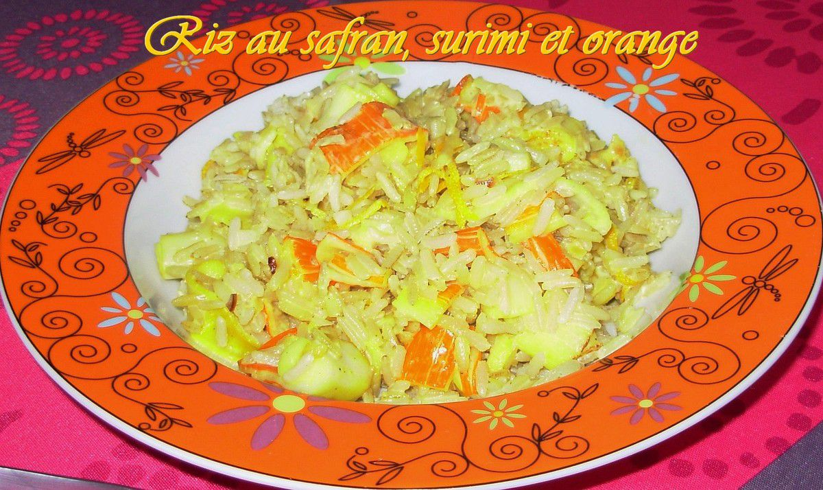 Riz au safran, surimi et orange