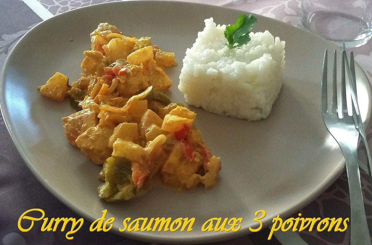 Curry de saumon aux 3 poivrons