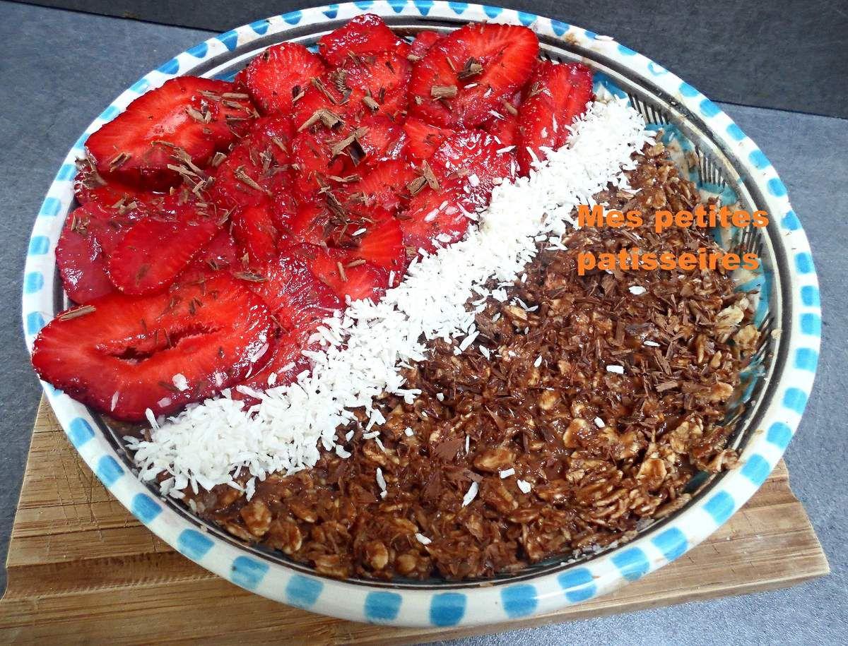 porridge chocolat/coco et fraises