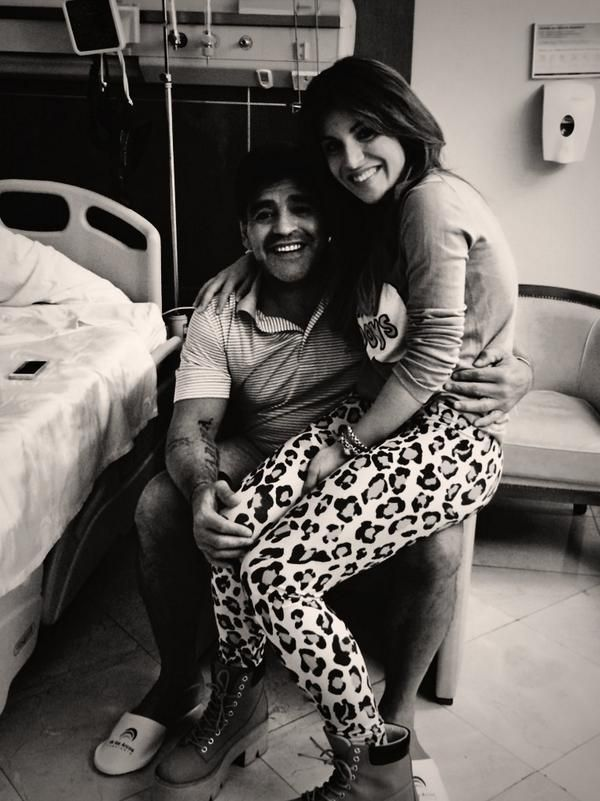 Diego Maradona et sa fille le 14 août 2014
