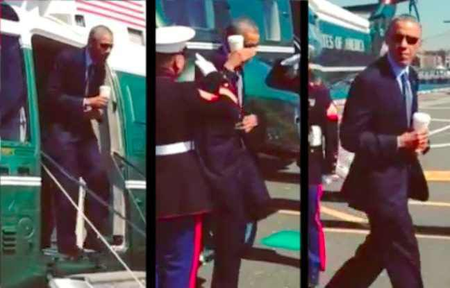 VIDEO. Barack Obama salue un officier des Marines avec un café à la main