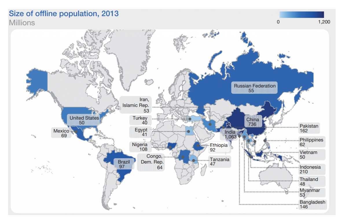 La carte des 4,4 milliards de personnes sans Internet