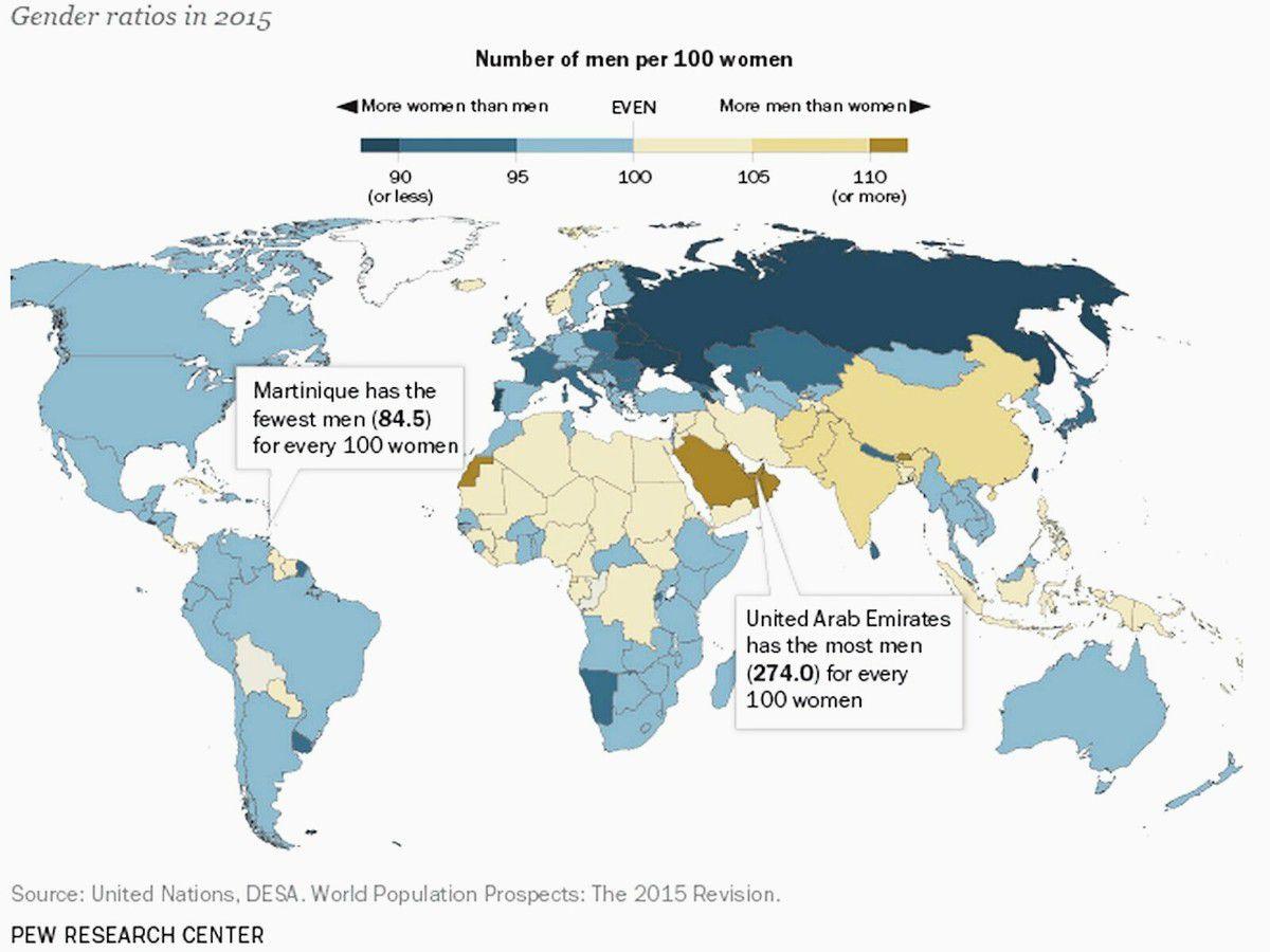 Votre pays compte-t-il plus de femmes que d'hommes ?