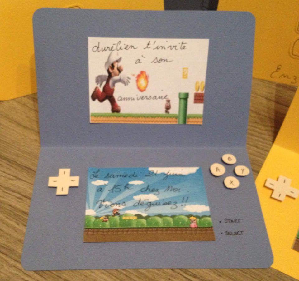 Carte D Invitation Pour Anniversaire Sur Le Thème De Mario Bros