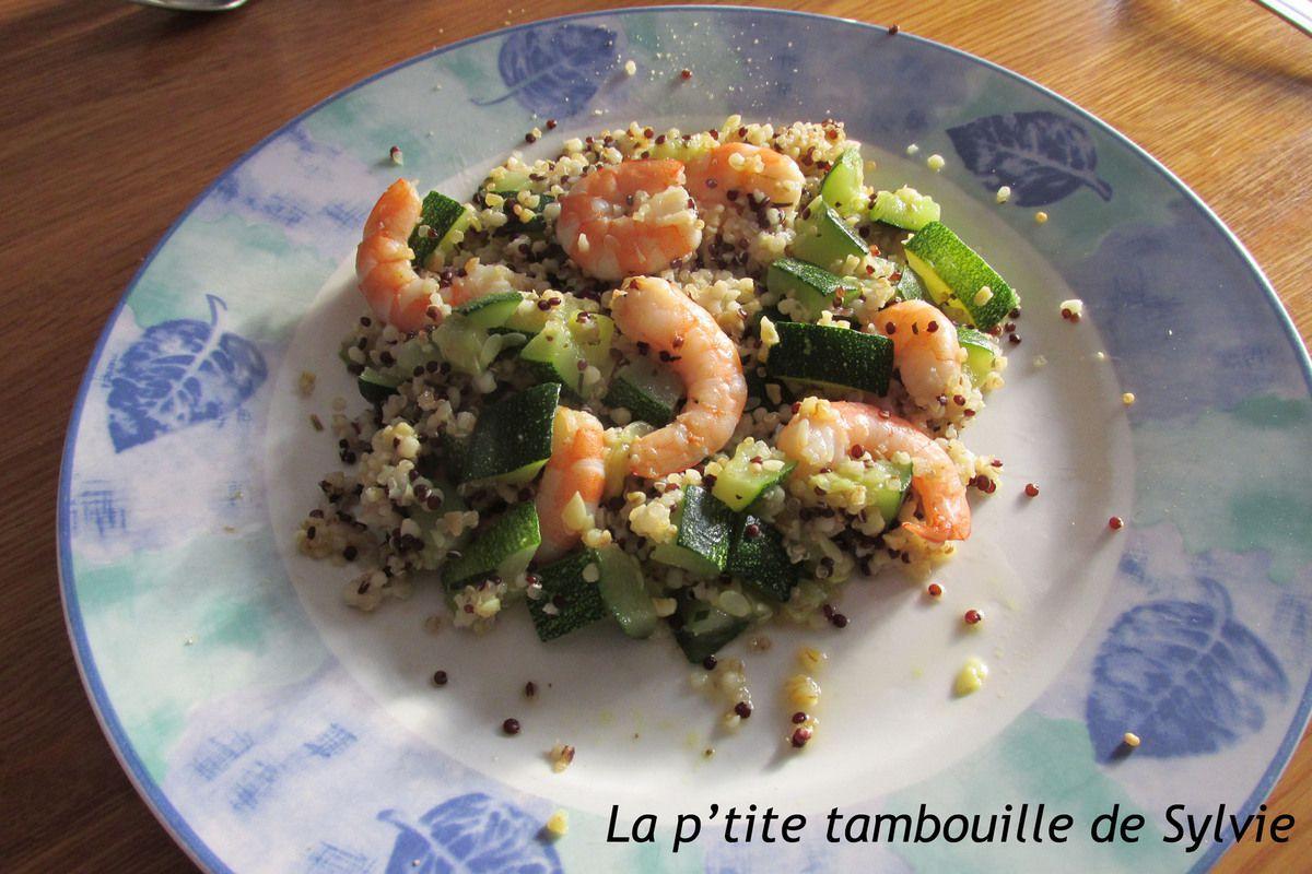 Poêlée de crevettes et courgettes au quinoa