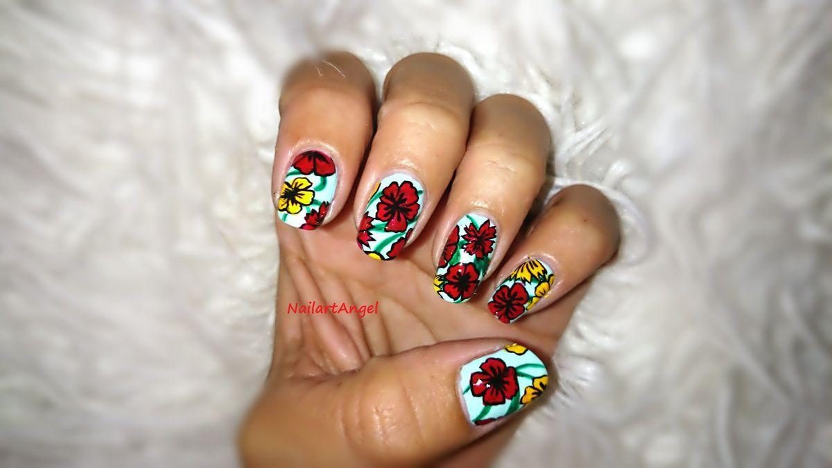 Nail art fleur tropicale, tuto image (simple à réaliser)