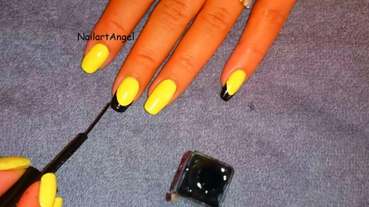 Nail art jaune et noir