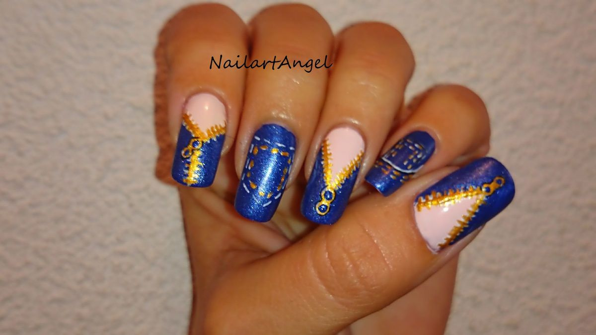 nail art jeans tutoriel pas pas facile et rapide r aliser nailartangel. Black Bedroom Furniture Sets. Home Design Ideas