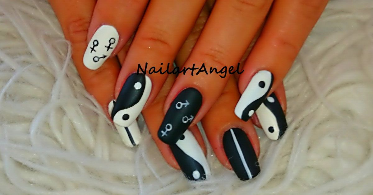 nail art yin et yang tutoriel vid o et image facile et rapide r aliser nailartangel. Black Bedroom Furniture Sets. Home Design Ideas