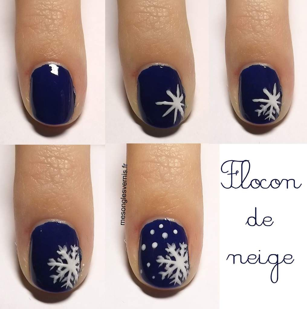 nail art fleurs des neiges one stroke ambiance. Black Bedroom Furniture Sets. Home Design Ideas