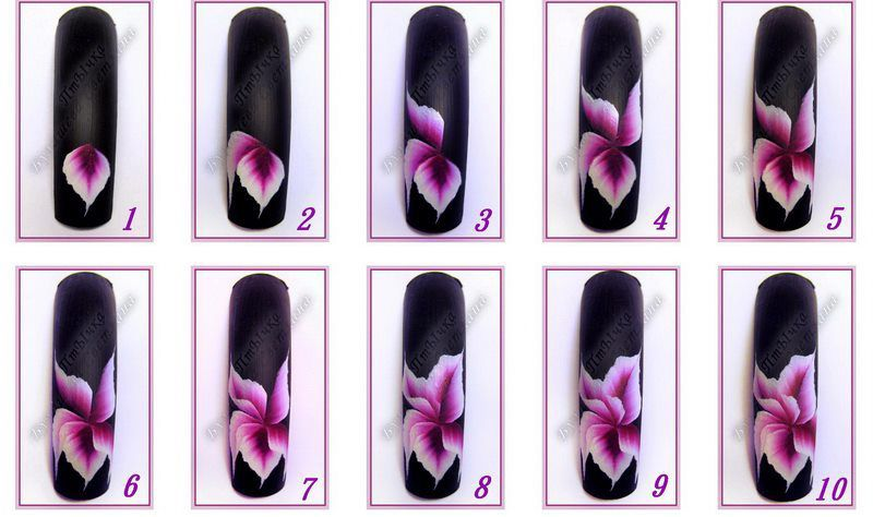 "nail art fleur, nail art one stroke, nail art pas à pas, nailartangel, #nailart, #nailartangel, #tutoriel, #tutorial ""onestroke"