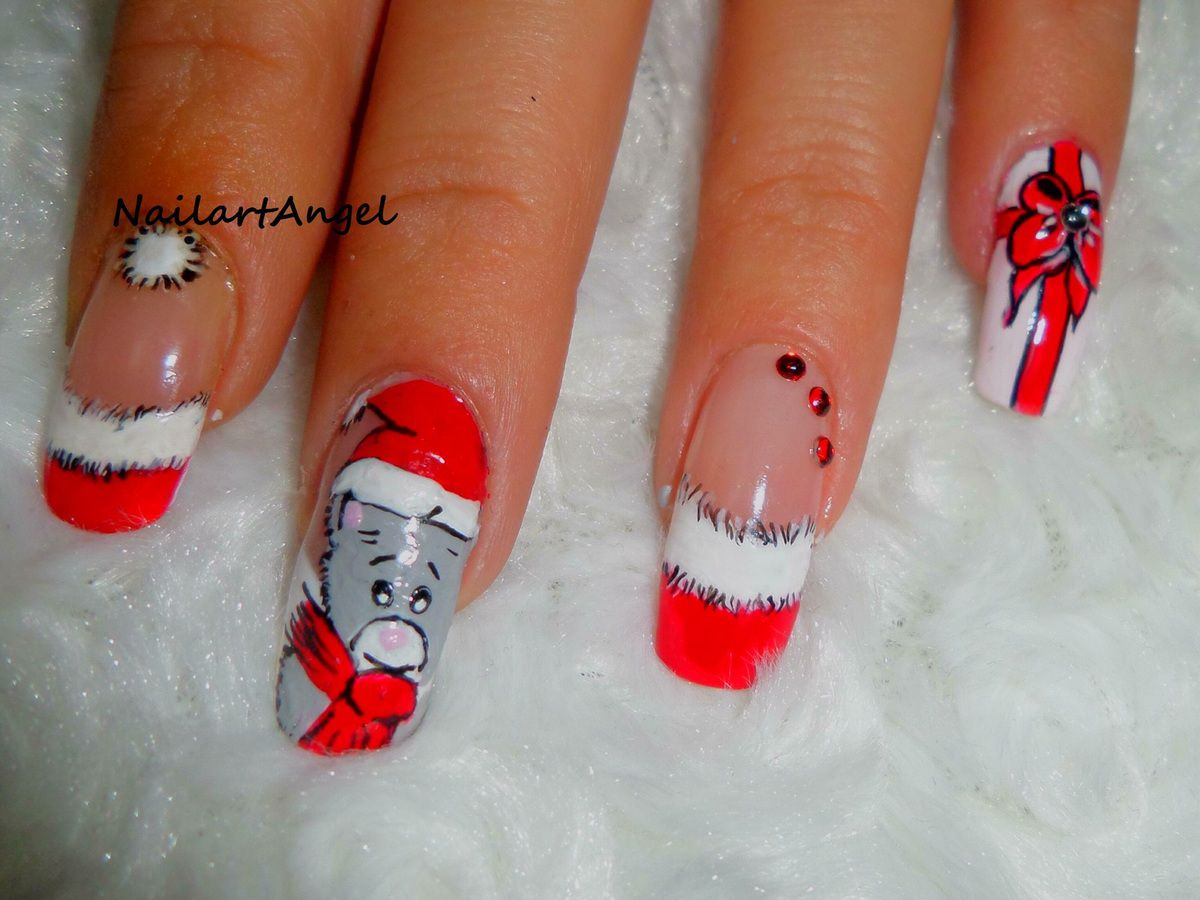 Nail art de no l p re no l nailart no l tutoriel image nailartangel - Nail art noel facile ...