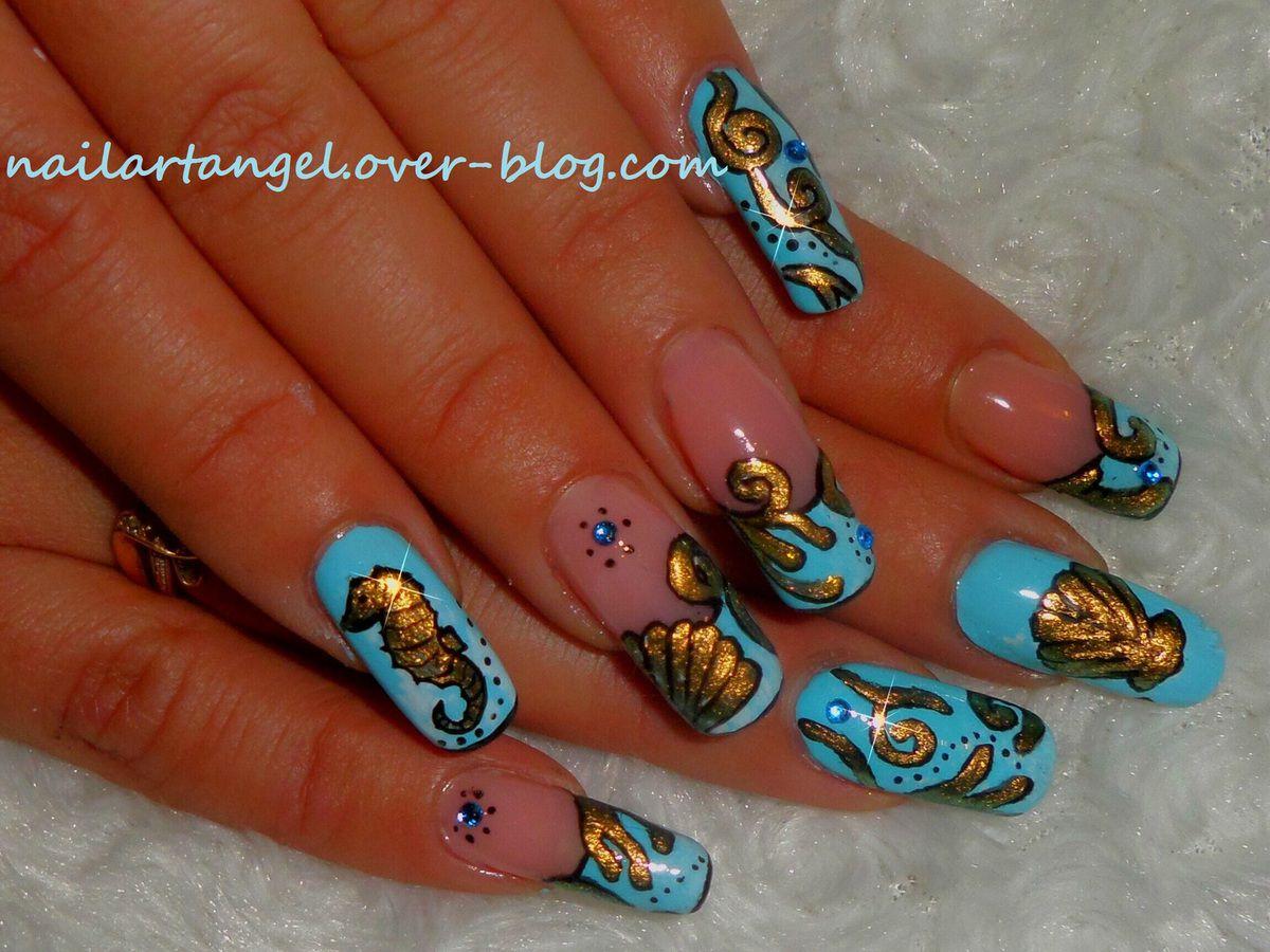 Nail art océan, hippocampe, coquillage #nailart #océan #hippocampe #nailartangel nailartangel