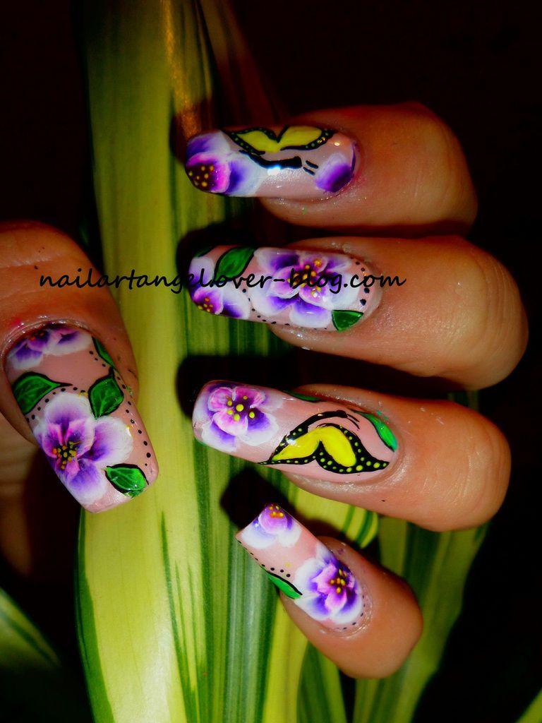 Nail art one stroke, nail art cerisiers en fleurs, nail art papillon, nail art, flowers, nailartangel