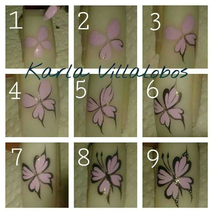 nail art papillon, tutoriel, nail art
