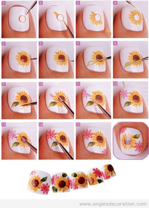 nail art tournesol #nailart #nailartangel #tutoriel #tutorial #nailartfleur #fleur #flower #flowers