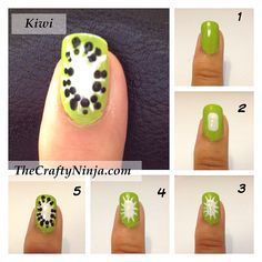 nail art kiwi, facile à réaliser #nailartangel #kiwi #printemps #tutoriel #tutorial  #nailart