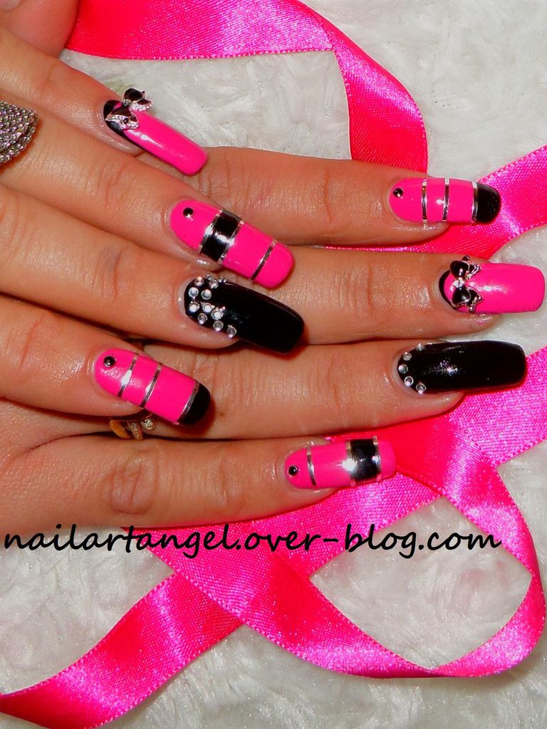 nail art glamour et rock, pink and black, inspiré du parfum PACO RABBANE