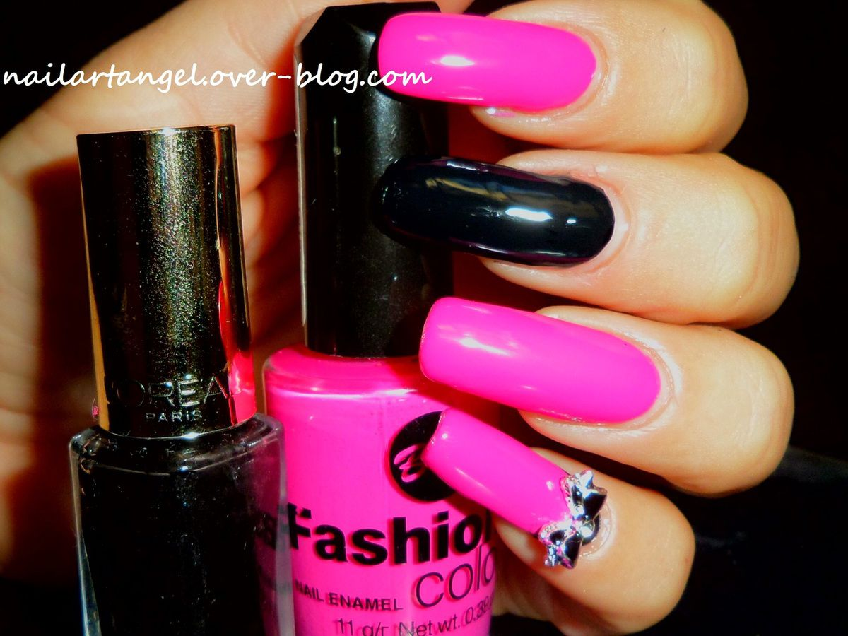 manucure glam rock, nail art rock en pink and black. girly attitude